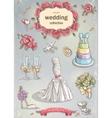 a set wedding romantic items vector image vector image
