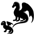 Adult and baby dragon silhouettes vector | Price: 1 Credit (USD $1)