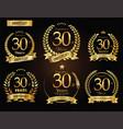 anniversary golden laurel wreath 30 years vector image vector image