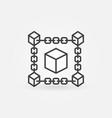 block chain cube line icon blockchain vector image vector image