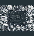 breakfast table top view frame on chalkboard vector image vector image