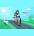 cartoon of a cyclist with dog vector image