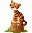 cartoon tiger sitting on tree stump vector image vector image