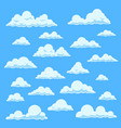 Cartoon white clouds blue sky with different