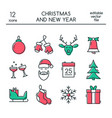 christmas and new year icons made in modern line vector image