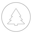 christmas tree icon black color in circle or round vector image