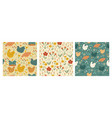 collection cute seamless patterns with hens vector image vector image