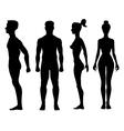 Collection of silhouettes man and woman isolated vector image