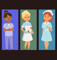 doctor nurse character brochure medical vector image