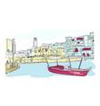 dubai sketch boat isolated watercolor vector image