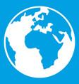 Earth globe icon white