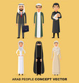 family concept set of cartoon different arab vector image