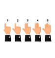 finger count 1 2 3 4 5 one two three four five vector image