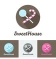 flat modern candy shop or cafe logo vector image vector image