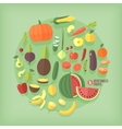 Fruits and vegetables flat icons collection set vector image vector image