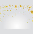 golden confetti falling on white background vector image vector image