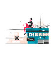 guy eating snacks on roof vector image