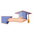 hand with hat graduation isolated icon vector image vector image