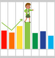 happy businesswoman with good bar chart vector image