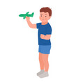 happy child launches paper plane isolated vector image