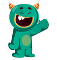happy green monster is waving to you vector image