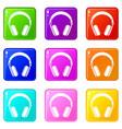 headphones icons 9 set vector image vector image