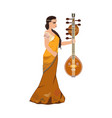 indian girl with saraswati veena design vector image