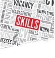 job skills word background broken paper vector image vector image