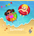 kids floating on inflatable at beach in summer vector image