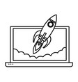 laptop with a rocket icon cartoon black and white vector image vector image