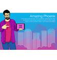 man presentation of mobile application startup vector image vector image