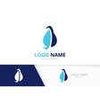 medical water logo combination water drop vector image