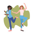 mix race girls dancing female dancers having fun vector image