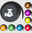 money in hand icon sign Symbols on eight colored vector image vector image