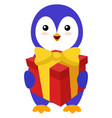 penguin with birthday present on white background vector image vector image