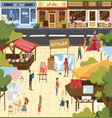 people on art market cartoon vector image vector image