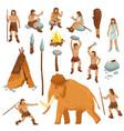 primitive people flat cartoon icons set vector image vector image
