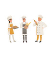 professional bread bakers in uniform set