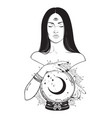prophetess with third eye reading crystal ball vector image