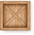 realistic old wooden box cargo container mockup vector image