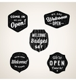 Retro Welcome and Open Signs or Labels Textured vector image vector image
