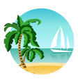 round picture of summer vacation on island with vector image vector image