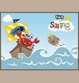 sailing fun with funny animals cartoon crab fish vector image