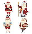set cartoon santa clauses collection cute vector image