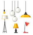 set lamps furniture chandelier floor and vector image