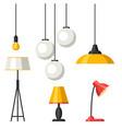 set of lamps furniture chandelier floor vector image