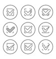 set round line icons check mark vector image vector image