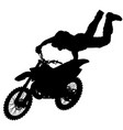 silhouette of motorcycle rider performing trick on vector image