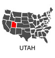 state utah on map usa vector image vector image