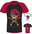 T-shirt with Rottweiler dog pirate vector image vector image